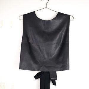 ⭐NWT Zara Tie Back Faux Leather Black Crop Top